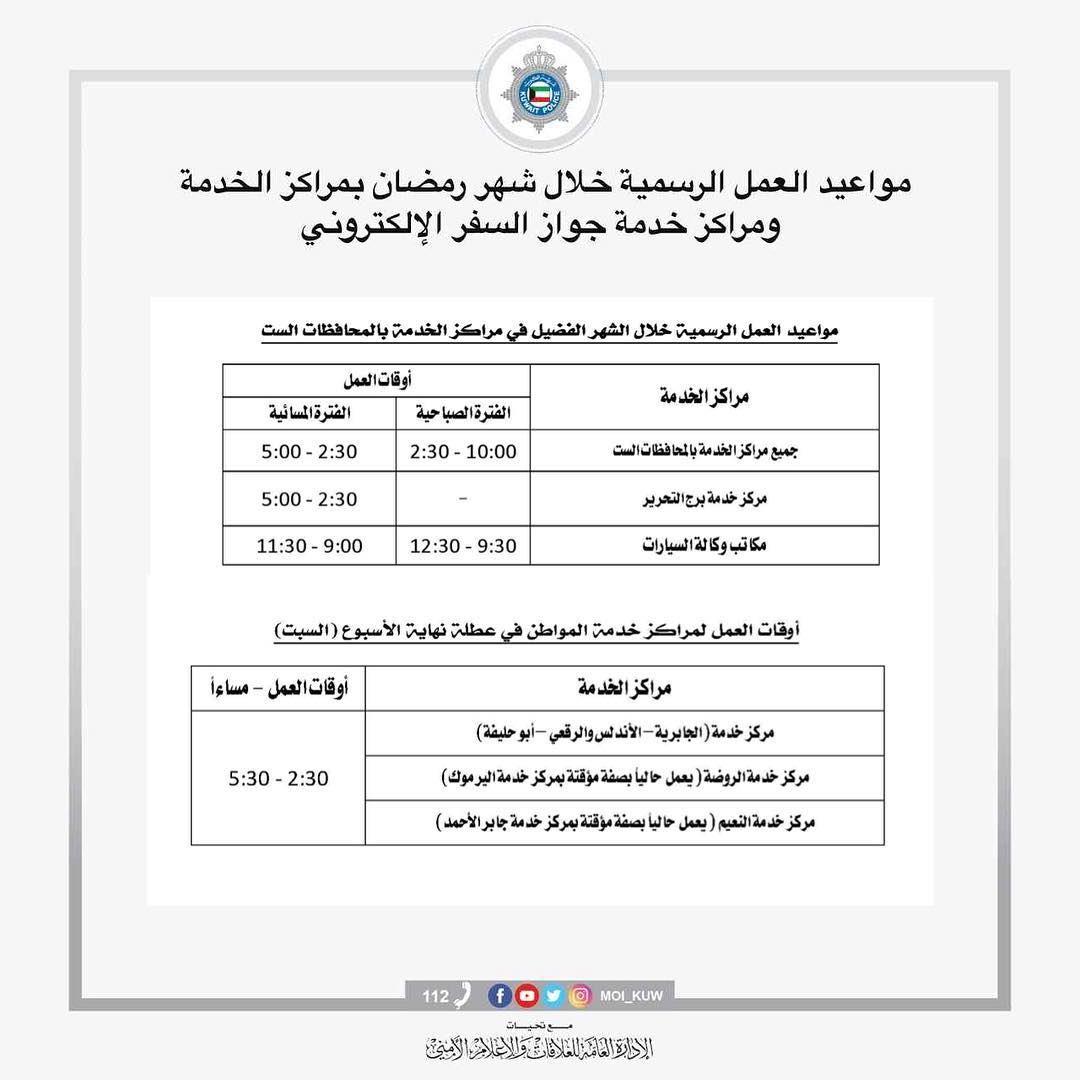 ساعات العمل في رمضان للمواطن